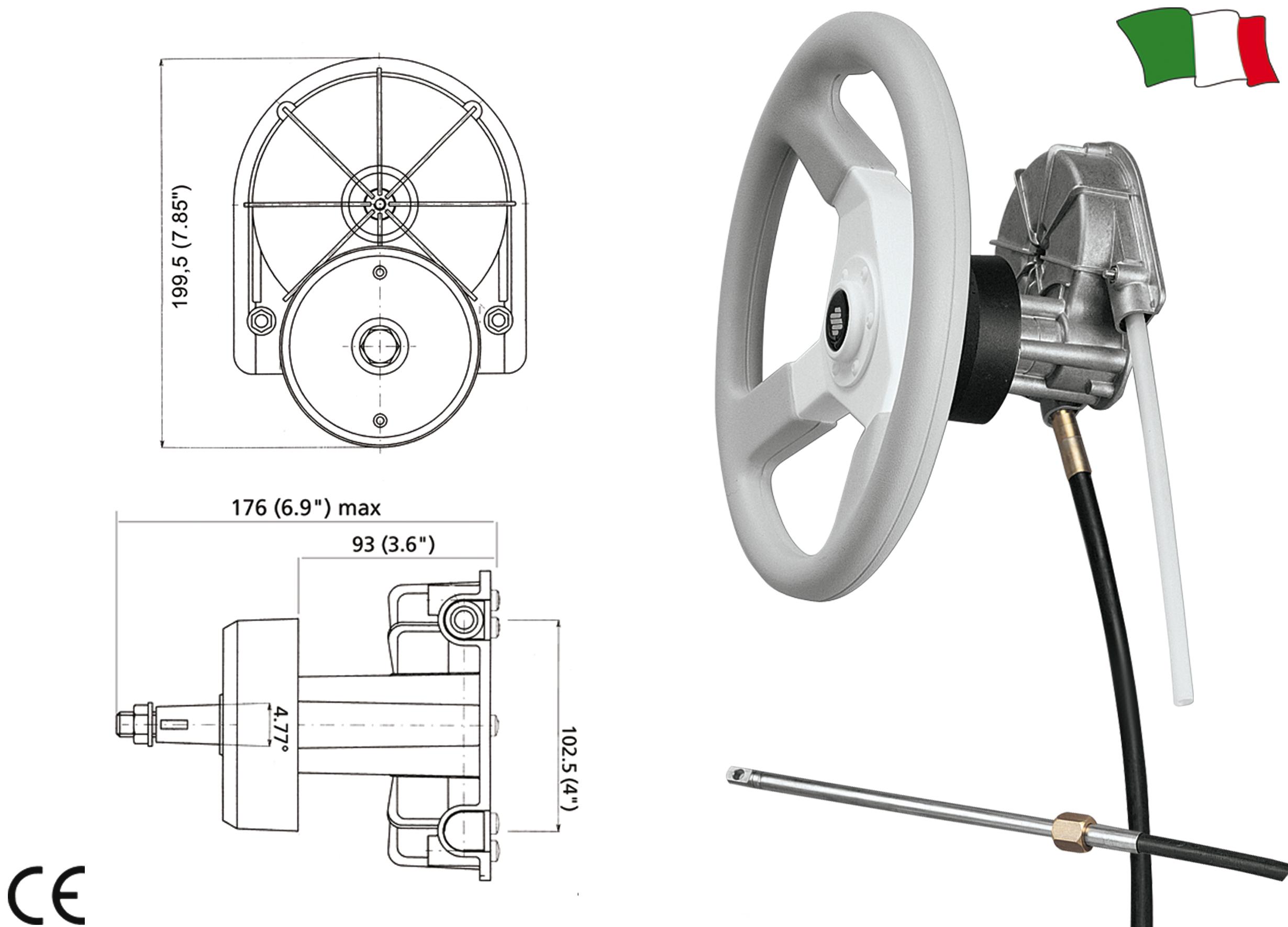 Ultraflex T85 Steering System Gfn Gibellato Forniture Nautiche Jabsco Spotlight Wiring Diagram 128900