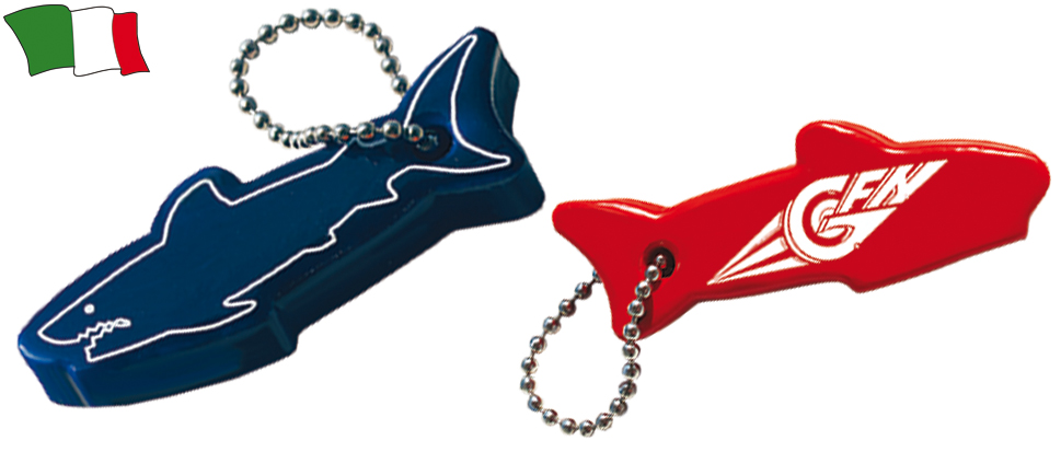 Floating Shark Shaped Keyring G F N Gibellato Forniture Nautiche